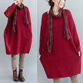 2016 Autumn Winter Maternity Clothes Large Size Loose Comfortable Younger Sister Leisure Dress Pregnant Women Long Red Dress