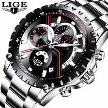 купить LIGE New Fashion Men's Watch Men Full Steel Business Luxury Watch Date Chronograph Quartz-watch Male Clock Relogio Masculino по цене 1432.24 рублей