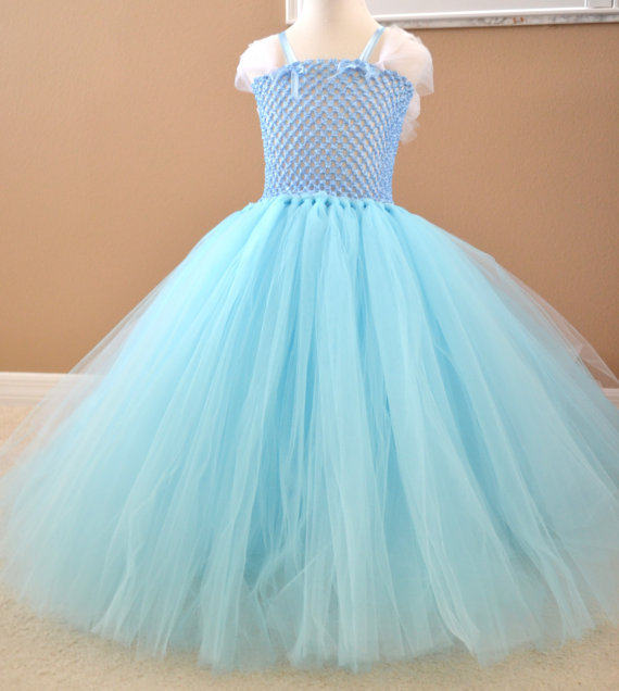 Online Shop Cute Girls Blue Trailing Evening Tutu Dress Kids Fluffy ...