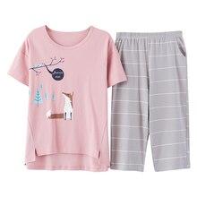 Pijama de algodón con dibujos animados para mujer, conjunto de pijama femenino con cuello redondo, 100% informal de talla grande, Top y pantalón corto, M 5XL verano