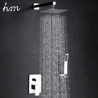 hm Bathroom Luxury Rain Mixer Shower System Combo Set Wall Mounted Rainfall Shower Head System Polished Chrome
