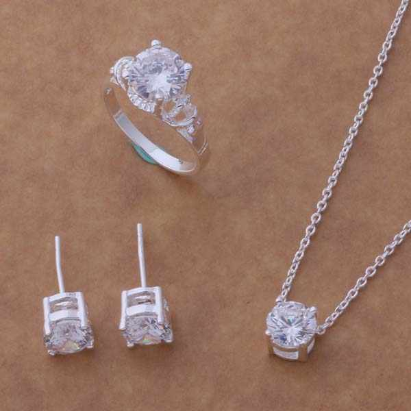 AS045 Hot 925 sterling silver Jewelry Set Orecchini Collana 183 + 586 + Anello 083/acbaitia aioaizva