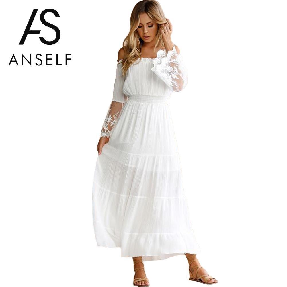 Anself Sexy Women Maxi Long Dress Off The Shoulder Crochet