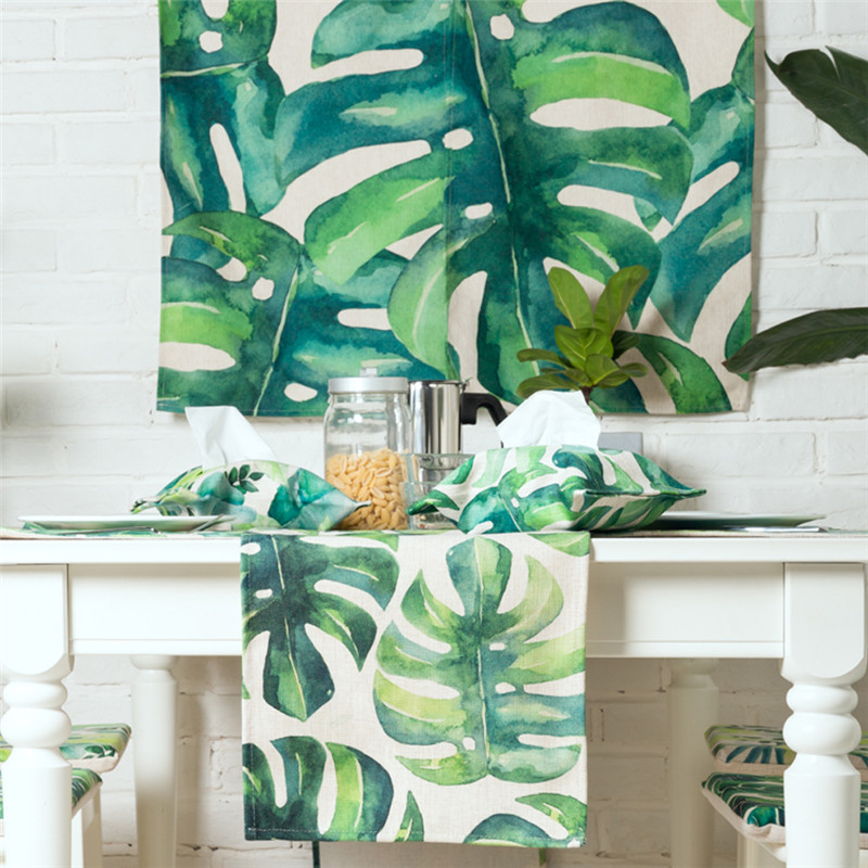 Haolaiwu New Modern Style 3D Photo Print PolyesterLinen Table Runner  Irregular Tropical Plant Printed Cloth Table Runners In Table Runners From  Home ...