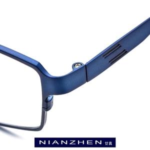 Image 2 - Pure Titanium Eyeglasses Frame Men Square Myopia Optical Eye Glasses for Men Vintage Retro Ultra Light Full Eyewear FONEX 1180