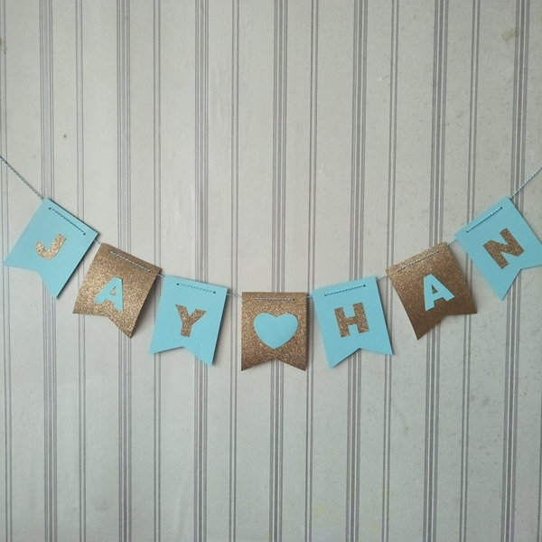 Personalized Name Buntings Nursery Room Hanging Decorations Sky Blue And Glitter Gold Sign Banners Free