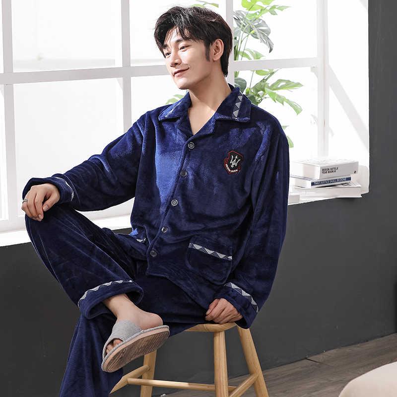 ... Зимний фланелевый мужской пижамный комплект теплые плотные коралловые  флисовые пижамы мужские с длинным рукавом Ночное белье ... 7466afd9f5366