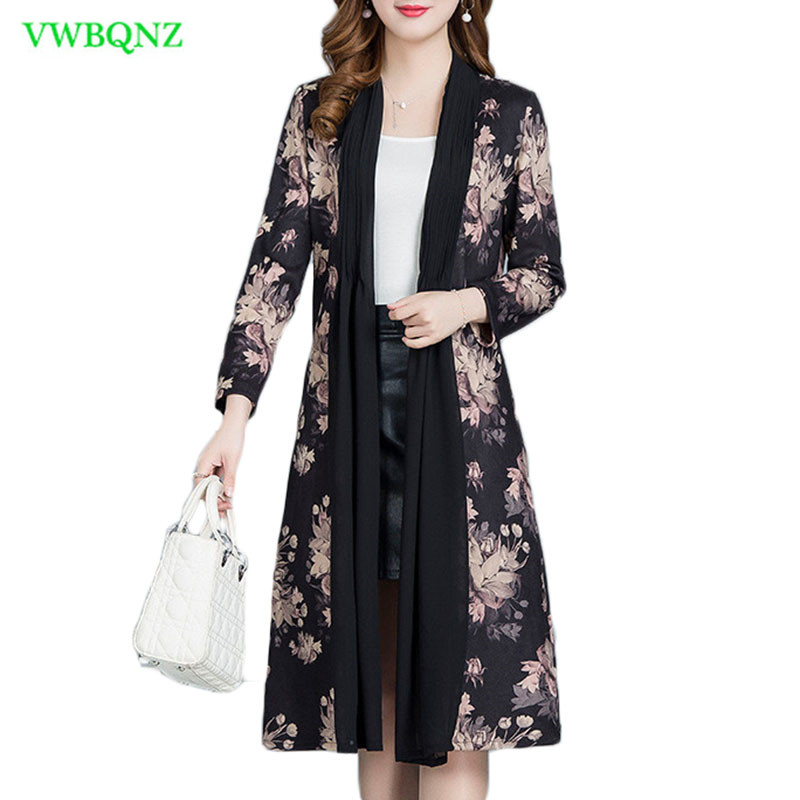 Spring Autumn New Korean Printing   Trench   Coat Women Thin light Windbreaker Coats Women Korean Long Plus size Outerwear 4XL A619