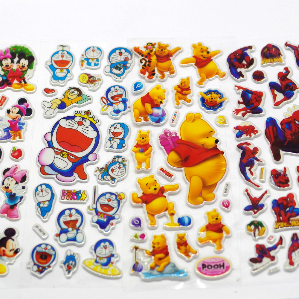 10pieces/lot 3D Puffy Bubble Stickers Mixed Cartoon Mickey Cars Spiderman Waterpoof DIY Children Kids Boy Girl Toy Hot Sale