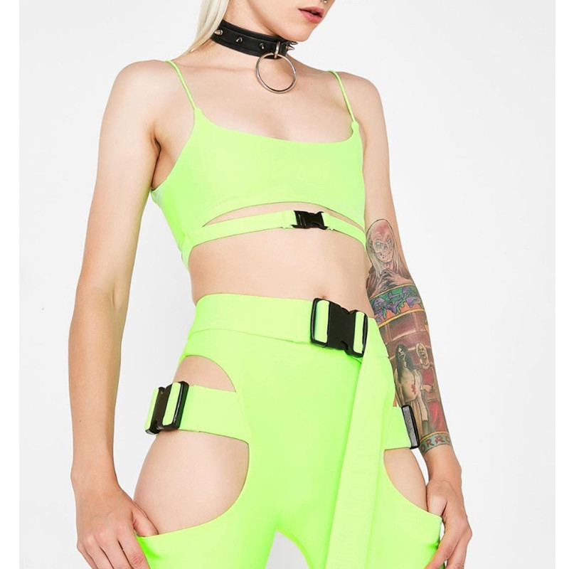 FCCEXIO 2019 New Sexy Solid Color Women 2 PCS Sets Cropped Sling Tank Tops Waist Hollow Out Skinny Shorts Fashion Fitness Set