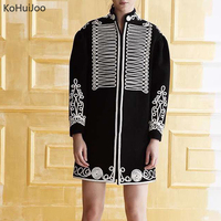 KoHuIjoo Stand Collar Long Wool Coat Women Spring Autumn Winter Embroidery Retro Coat Female Vintage Woolen Jacket