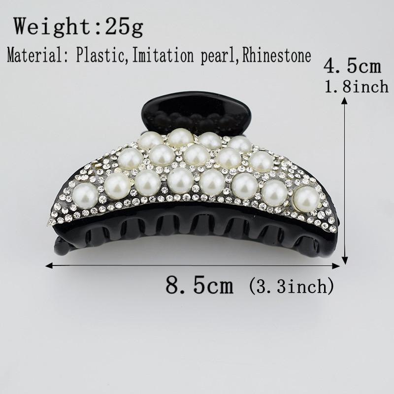 Pearl Hair Claw for Women Accessories Black Crab Claws Clips Korean Fashion Rhinestone Hairclip Female Clip Headwear Gifts in Women 39 s Hair Accessories from Apparel Accessories