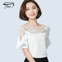 Short Sleeved Casual Loose Chiffon Tops Blouses 2017 Summer Chiffon Blouse Korean Lace Hollow Out Plus