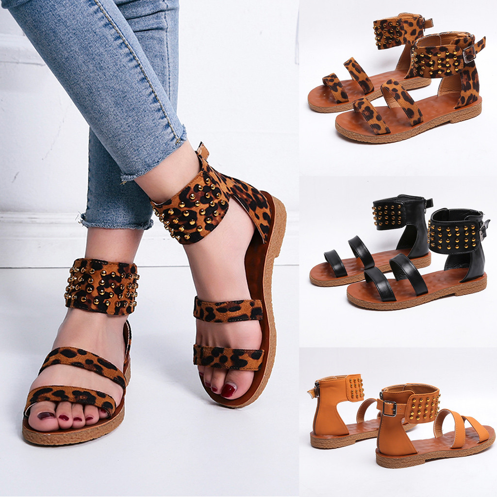 Womens Sandals Ladies Fashion Leopard Strap Flat Rivet Ankle Beach Sandals Roman Style Summer Casual Shoes Size 35-42 T9#Womens Sandals Ladies Fashion Leopard Strap Flat Rivet Ankle Beach Sandals Roman Style Summer Casual Shoes Size 35-42 T9#