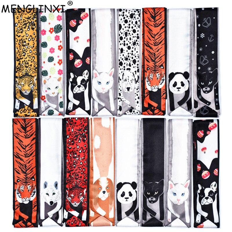 12 Animals Cheetah Silk Scarf 2020 New Bag Scarf For Women Luxury Brand Foulard Women Tie Fashion Head Scarves For Ladies Girls