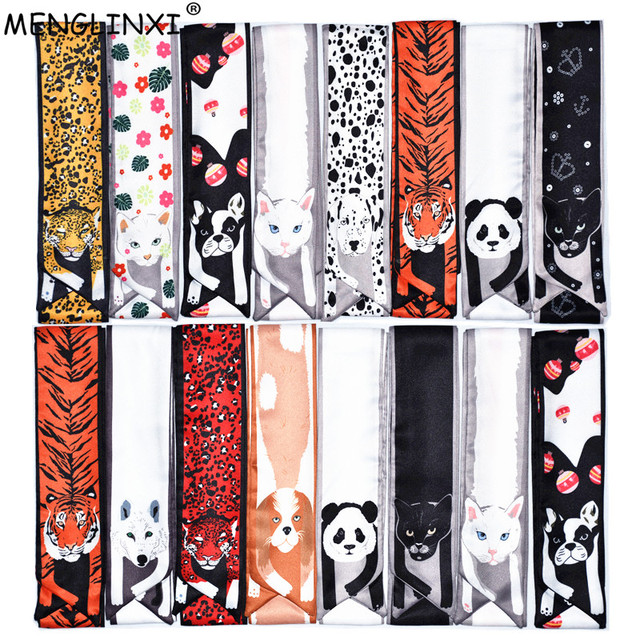 12 животных Cheetah шелковый шарф 2018 новая сумка шарф для женщин Элитный бренд Платки Женский галстук мода головы шарфы для дам обувь девоче...