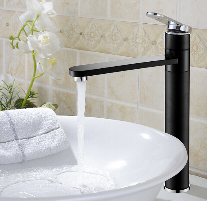 Free Shipping Black or white color Brass Faucet Hot And Cold Basin Mixer chrome Finish Bathroom Sink Mixer Tap BF115 luxury free shipping polished wall mounted tap bathroom basin sink faucet chrome brass finish hot