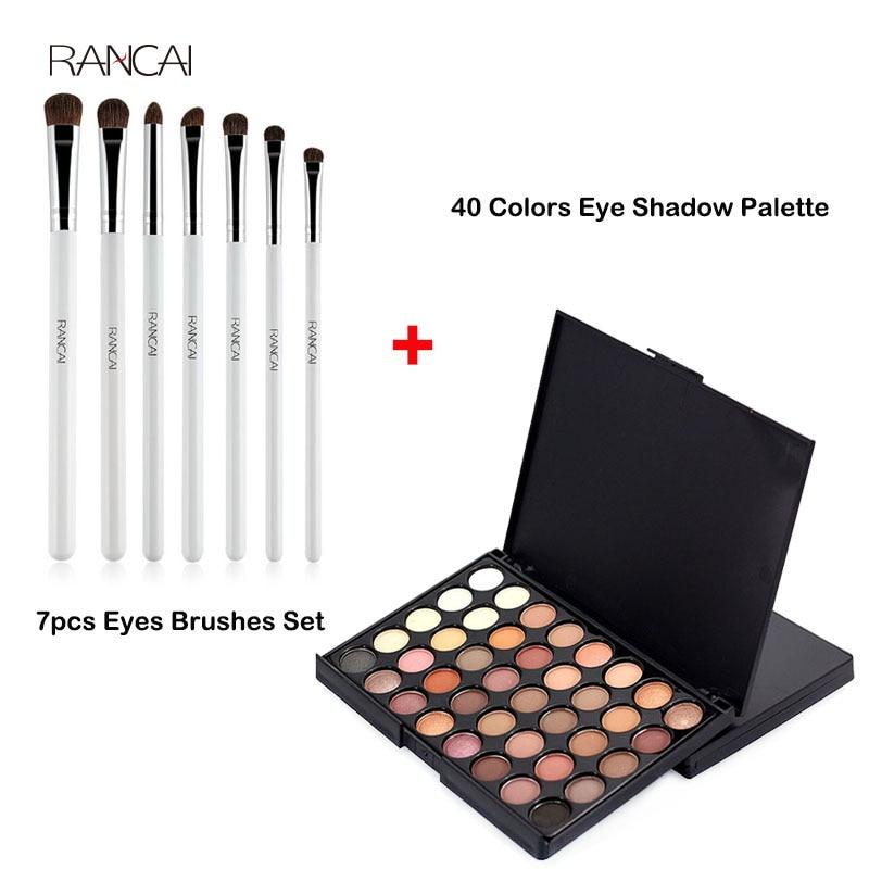 RANCAI 7pcs Eyes Brushes Set Eyeshadow Smudge Shader Makeup Brush + 40 Colors Eyeshadow Palette Face Matte Cosmetic Beauty Kit