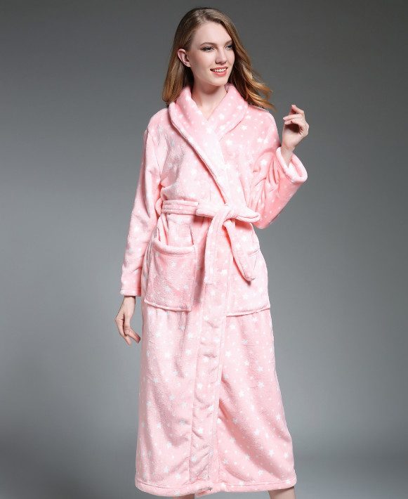 Robes Pajamas Winter Bath Lounge Long Kimono Robe Vintage Fleece ... 0fe652bf0797
