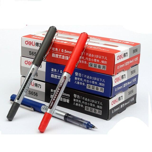 Deli Direct liquid ballpoint Tungsten carbide beads pen wholesale price 36 piece a lot Student black pen 0.5mm gel pen S656