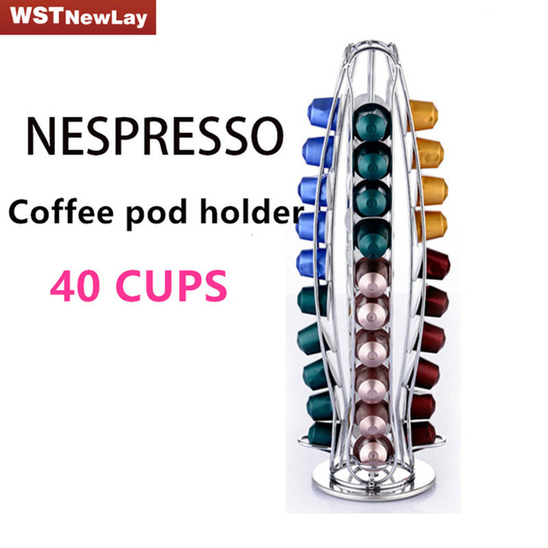 Hot sale New 40 Coffee Pod Holder Stainless steel Nespresso Capsules Use Rack Rotary Rack Rotating Stand Rack Storage