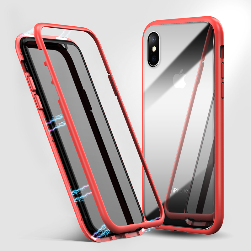 360 Magnetic Adsorption For Iphone Hock-Proof Plastic Frame With Glass Back Cover