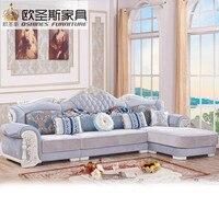 Luxus l förmigen schnitt wohnzimmer furniutre Antike Europa design klassische holz corner carving stoff sofa setzt 6548