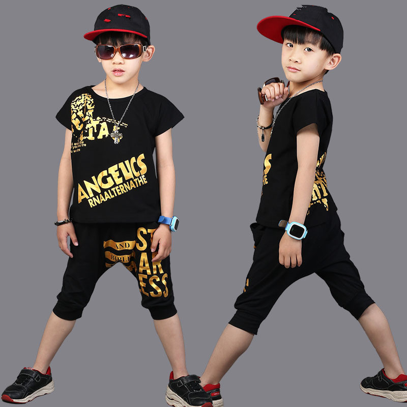 Summer Children Clothing Set Hip Hop baby boy Outfits Fashion Short Sleeve T-Shirt+Harlan Pants kids Sports Suit boys clothes