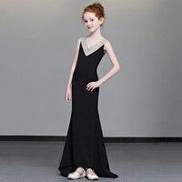 Роскошная Черная Русалка Цветок девушки сексуальные платья с открытой спиной трейлинг принцесса платье выдалбливают бисером детское наря