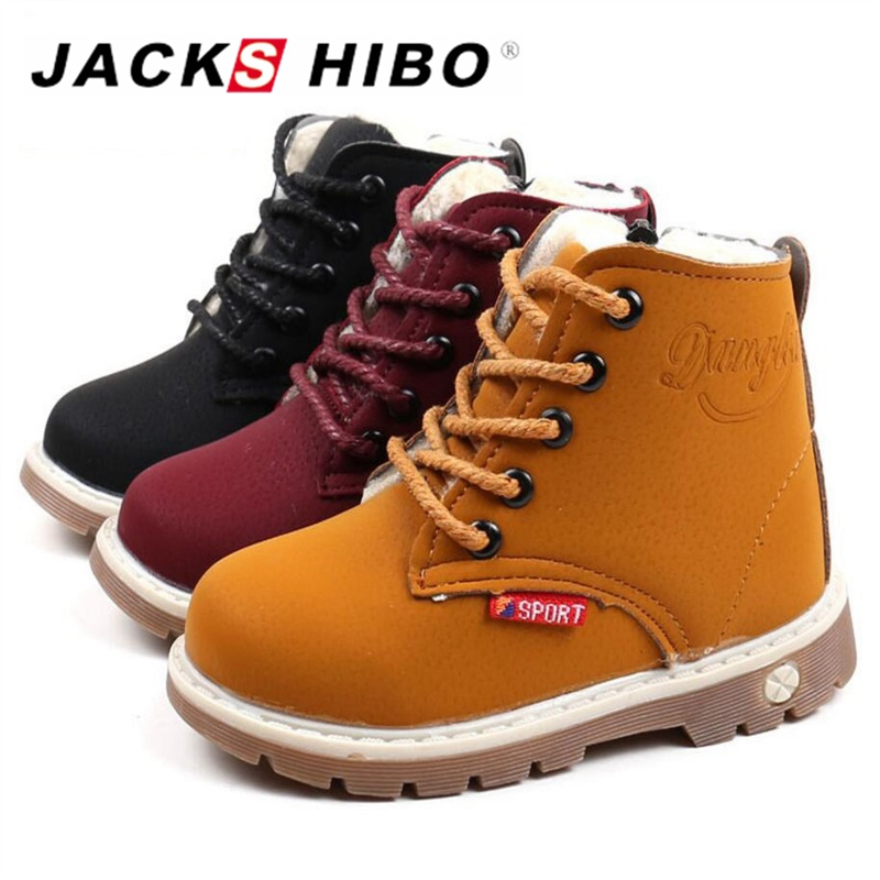 JACKSHIBO Kid Winter Boots Outdoor Safe Ankle Boots for Girls Warming Plush Kid Fashion Rubber Sole Cow Muscle Anti-skid Shoes