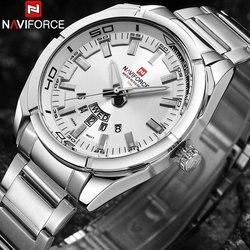 NAVIFORCE męskie zegarki Top marka luksusowy zegarek kwarcowy mężczyźni wodoodporna stal nierdzewna sportowe zegarki na rękę Relogio Masculino