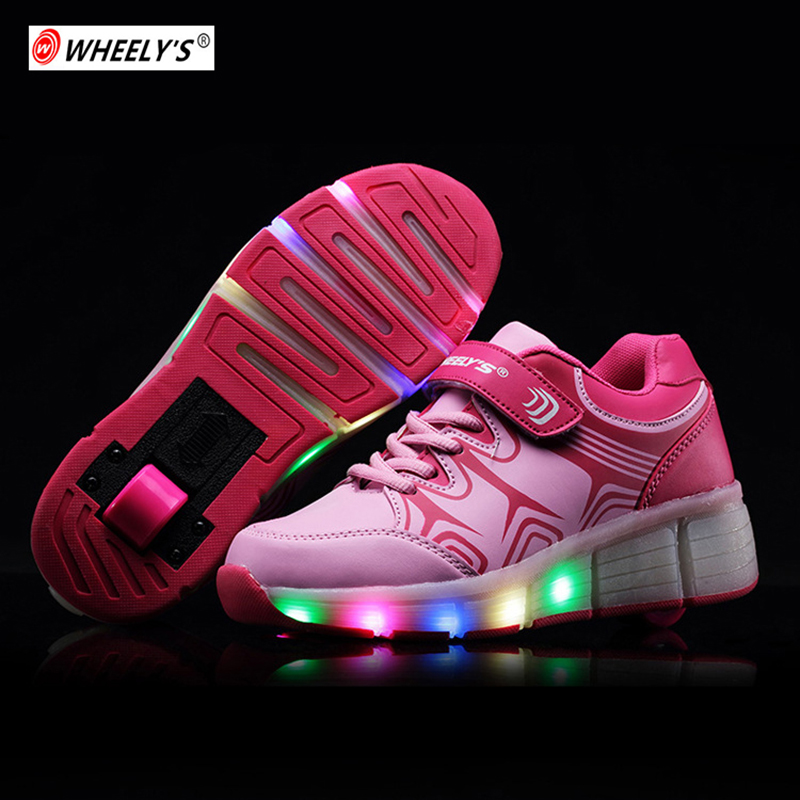 Kids Shoes LED light up Children Glowing Shoes with Wheels Girls Glowing for Boys tenis sneakers rollers skate