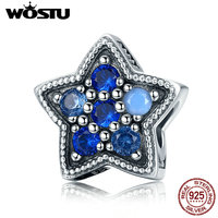 WOSTU 925 Sterling Silver BLUE Ocean Shinning Star European Beads Fit Original WST Charm Bracelet Bangle