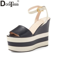 DoraTasia Size 34 40 Genuine Leather Women Summer Shoes Woman Brand Design Wedge High Heels Platform