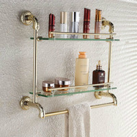 Genuine Golden Carved Bathroom Glass Shelf Bathroom Stainless Steel Rack Towel Rack lo820545