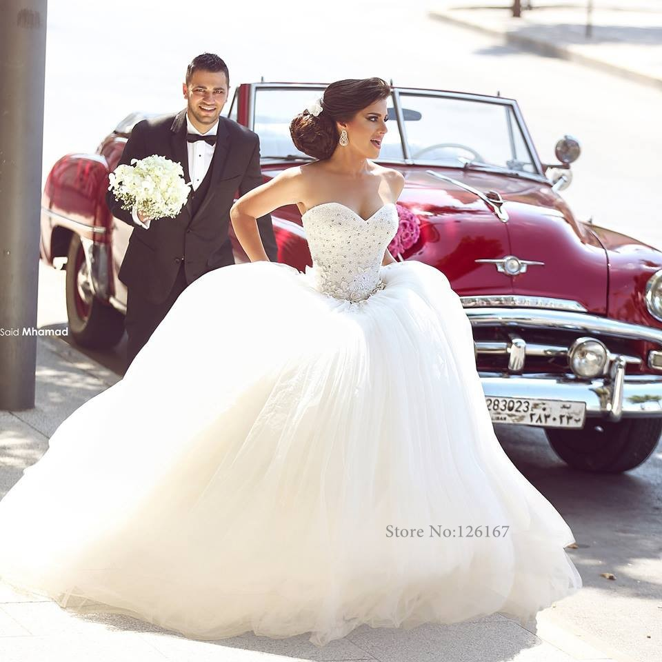 Buy gorgeous white tulle princess ball for Big tulle ball gown wedding dress