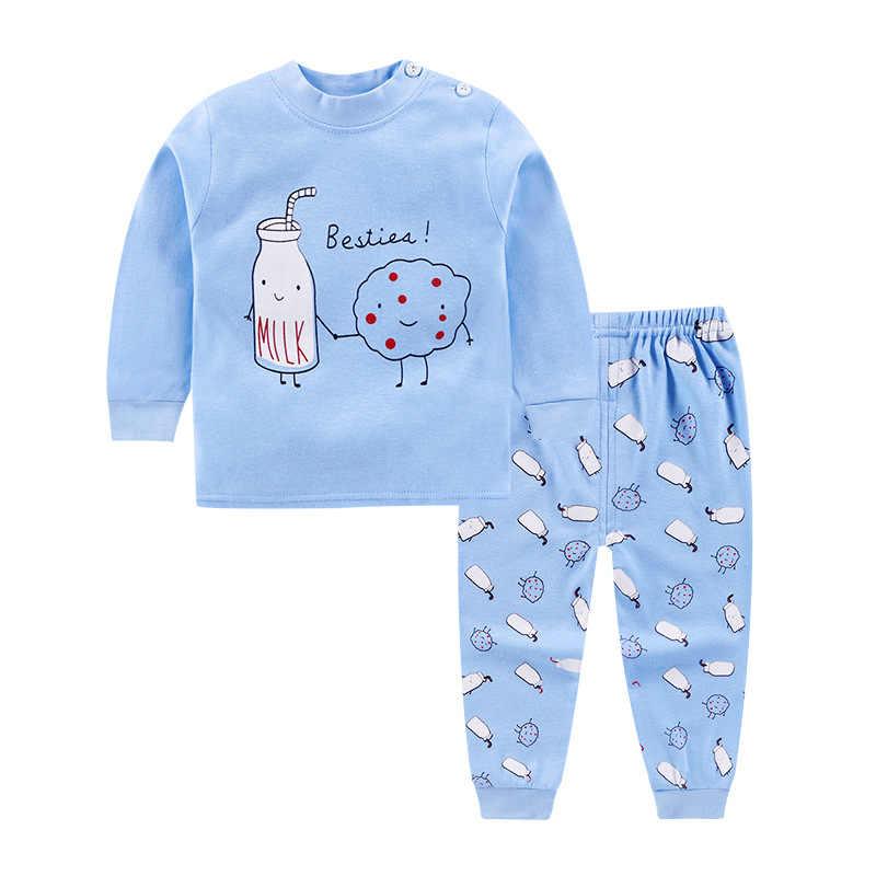 Musim Semi Musim Gugur Bayi Pakaian Set Bayi Laki-laki Perempuan Round Leher Lengan Panjang Setelan Celana