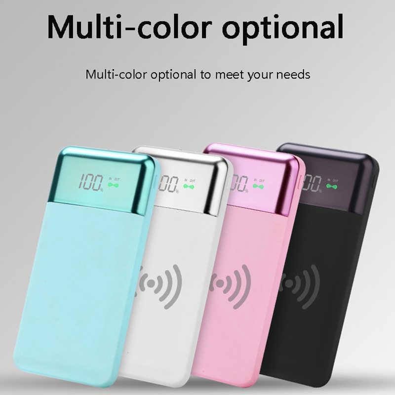 QI Беспроводной Мощность Банка 10000 мА/ч, ЖК-дисплей цифровой Дисплей Зарядное устройство Портативный Мощность банк Зарядное устройство для iPhone 8 8 плюс X samsung S9 honor