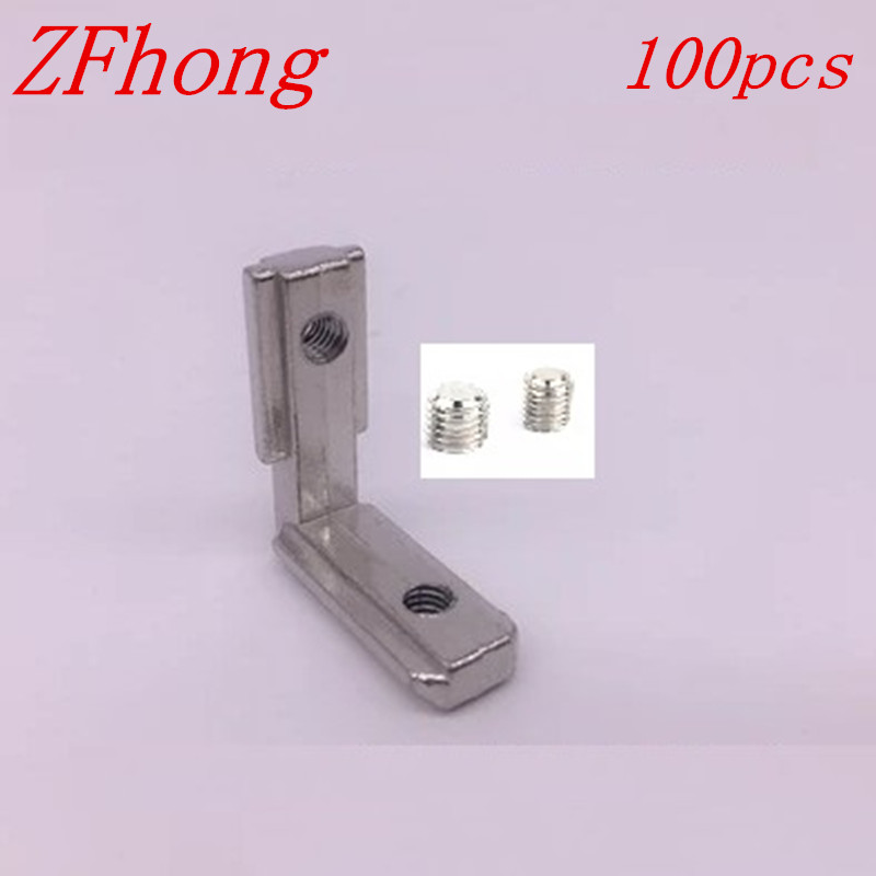 цена 100pcs 20 series T Slot L Shape Interior Corner Connector Joint for 2020 Aluminum Profile Accessories Bracket with m5 screw