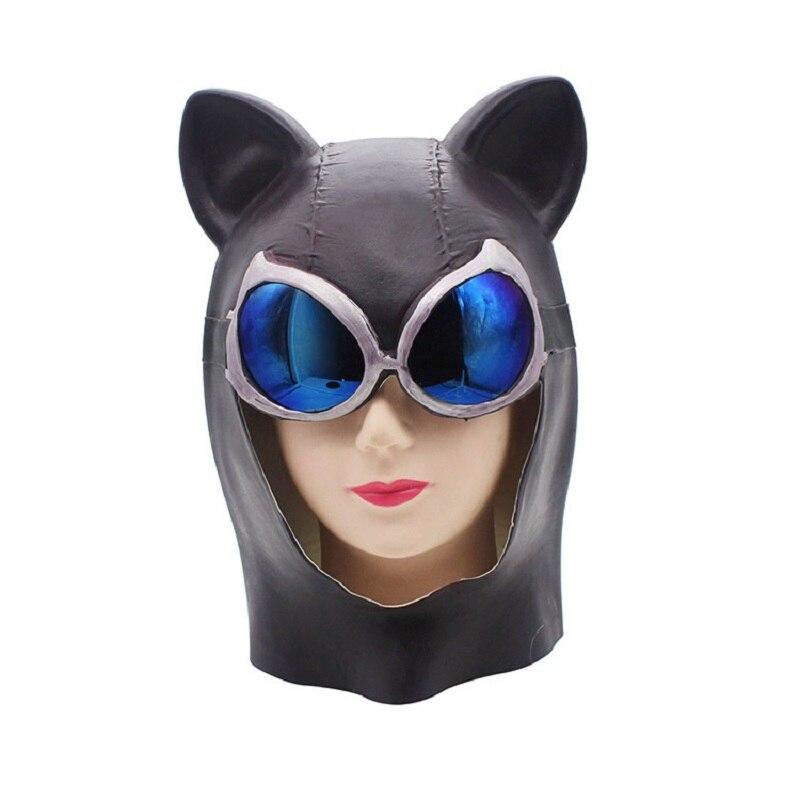 Хэллоуин синий очки Кот латекс маска Sexy Рог лиса маска Бэтмен с капюшоном кошка маска ролевая игра бар Вечерние поставки