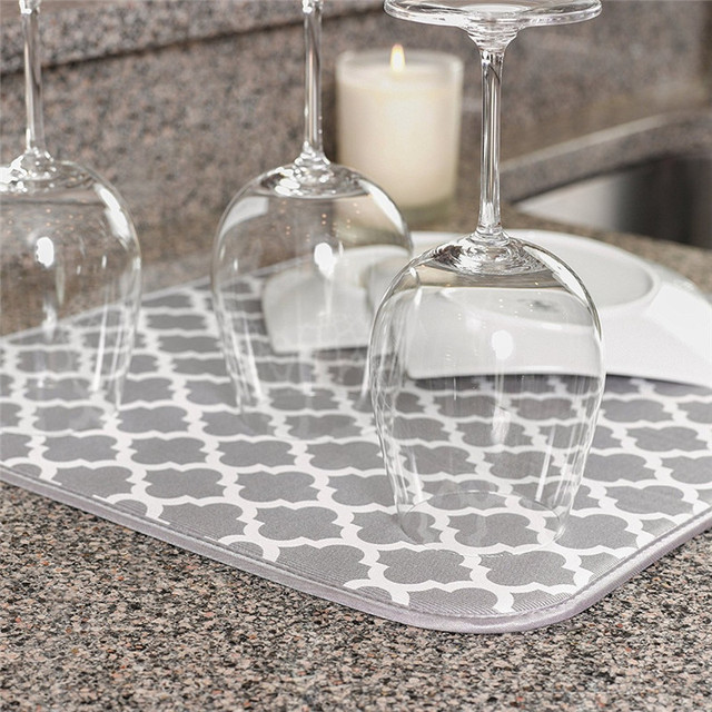 kitchen dish drying mat cheap stools 38 51 cm for drainer of microfiber cushion pad tableware