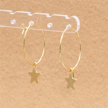 Real-golden Plated 316 Stainless Steel Brief Hoop Earrings With Classical Star Charms Jewelry