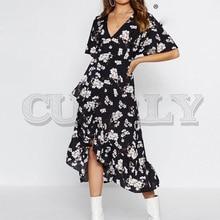 CUERLY V-neck bohemian floral print women sexy dress Elegant sash A-line ruffled summer dress Short sleeve holiday dress
