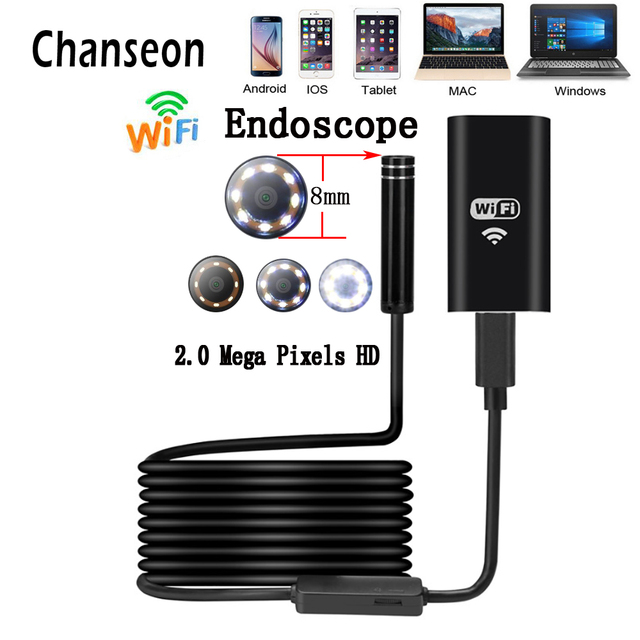Chanseon 새로운 wifi 내시경 카메라 8mm 8 led hd 2.0mp 1 m 미니 방수 무선 borescope 카메라 안 드 로이드 pc ios 내시경