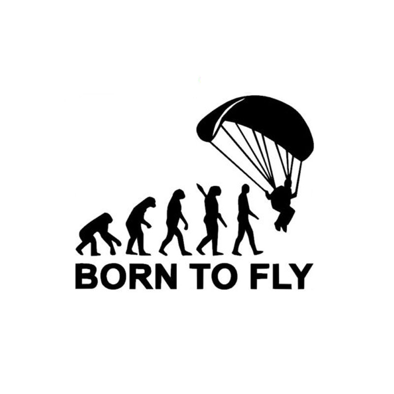 14.5cm*12cm Personalized Human Evolution Born To Fly Funny Car Stickers C5-1538