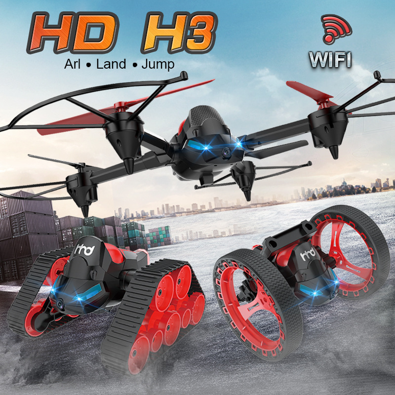 New RC Vedio tank Bounce car H3 WIFI FPV DIY 3 in 1 Headless Model Deformation Aerial RC Drone Tank Jumping Car Amphibious toys гаджет skm toys fpv rover tank rfp 0014 01