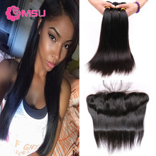 4 Bundles Straight Ali Moda Hair with Frontal 13x4 Ear to Ear Full Lace Frontal Closure