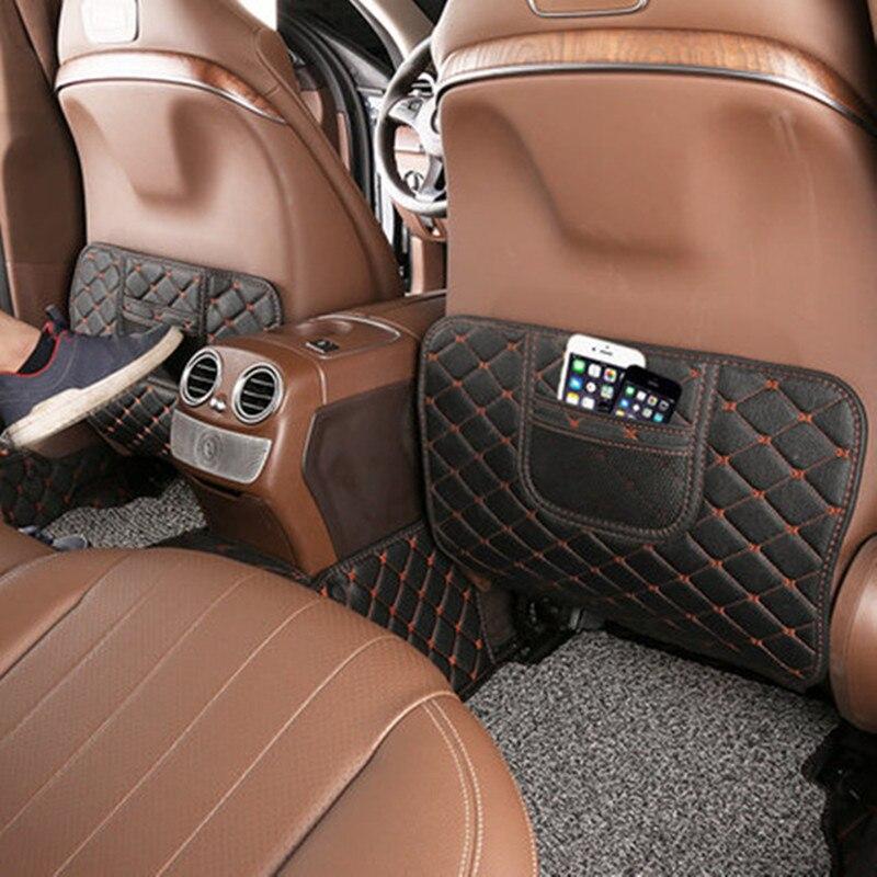 Car Seat Backrest Anti Kick Pad Leather Anti Dirty Mat 2Pcs For Mercedes Benz E Class W213 E300 E200 E320 2016-2018