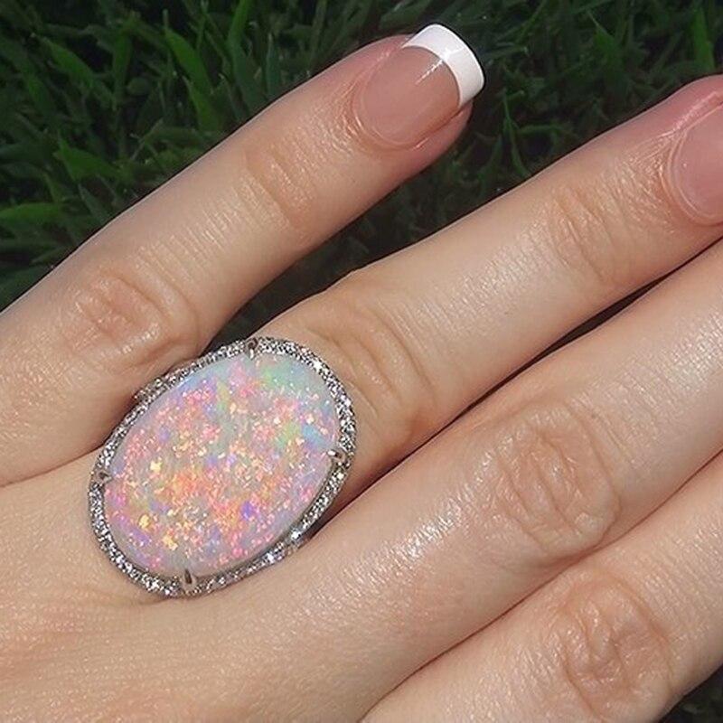 HOMOD Antique Silver Oval Large Opal Ring Boho Jewelry Moonstone Gems Ring Wedding Engagem