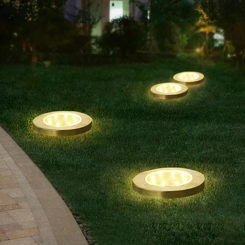 Led Ground Light Solar Rechargeable 8 Leds Lamp Buried